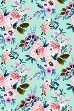 Victorian floral mint by crystal_walen - hand painted rose and pink flowers on fabric, wallpaper, and gift wrap. bold mint colored background with whimsical Mint Wallpaper, Flower Wallpaper, Pattern Wallpaper, Wallpaper Backgrounds, Fabric Wallpaper, Floral Backgrounds, Cellphone Wallpaper, Iphone Wallpaper, Inspiration Wand