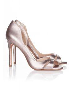 High heel peep toes in rose gold metallic leather