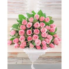 A beautiful bouquet of pastel pink roses that will melt her heart. Choose 36 or 48 pink roses in a hand tied bouquet, wrapped in cello. Bouquet Wrap, Hand Tied Bouquet, Pink Rose Bouquet, Pink Roses, Beautiful Flower Arrangements, Beautiful Flowers, International Florist, Pink Marshmallows, Buy Flowers Online