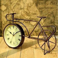 Retro Vintage Style Metal Bike Bicycle Clock Home Decor Table Clock Ornament   eBay