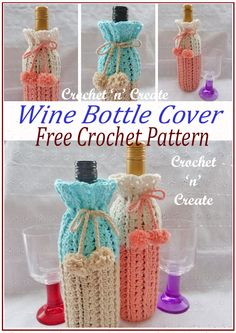 Crochet wine bottle cover, this crochet koozie is perfect to use for gifts, the free pattern is designed to fit a standard size wine bottle, it features a shell and raised stitch pattern made in cotton yarn. Crochet Gifts, Free Crochet, Crochet Cozy, Stitch Patterns, Crochet Patterns, Crochet Edgings, Crochet Motif, Crochet Shawl, Shawl Patterns