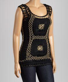 Look what I found on #zulily! Black & Gold Crochet Sleeveless Tunic - Plus #zulilyfinds
