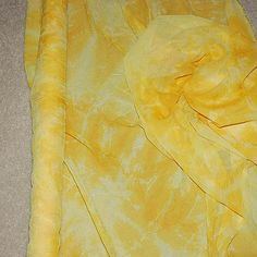 """Tie Dyed Georgette.. Yellow .. 50"""" wide... 1 yard ... formal..costume...pageant..home decor"""