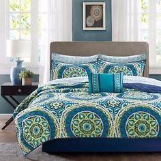 Blue Green Global Medallion Coverlet Quilt Bedspread Shams Pillow Sheets Set | eBay