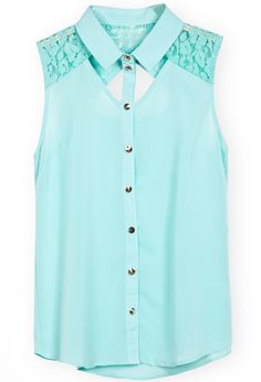 Green Lapel Sleeveless Contrast Lace Hollow Blouse