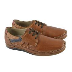 Zapatos de cordones de corte sport casual en piel Tornado con suelas flex de goma de la marca española FLUCHOS.