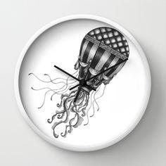 Jellyfish Air Balloon Wall Clock by Sara Elan Donati - $30.00 #clock #shop #print #society6