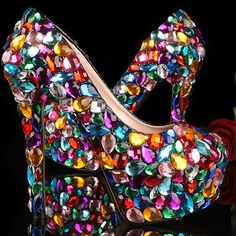 Crystal Glitter Fashion Multicolor Wedding Shoes Ladies Platform High Heel Evening Shoes Nightclub Dancing Dress Shoes