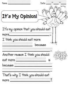 Turkey Opinion Writing product from Multiage-Days on TeachersNotebook.com