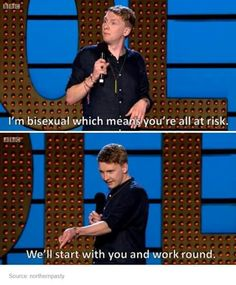 Bisexual, Joe Lycett Live at the Apollo Bi Memes, Funny Memes, Hilarious, Jokes, Infp, Pokerface, Jung Yunho, Bisexual Pride, Lgbt Love