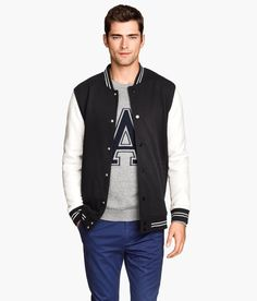 Black & white baseball jacket with sweatshirt fabric & side pockets. | H&M For Men
