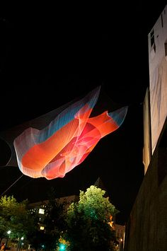 Janet Echelman net sculptures. Here is a link to her work http://www.echelman.com/