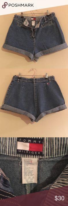 Vintage 90s High Waist Tommy Hilfiger Denim Shorts Adorable vintage high waisted Tommy Hilfiger jean shorts sz 4 Tommy Hilfiger Shorts Jean Shorts