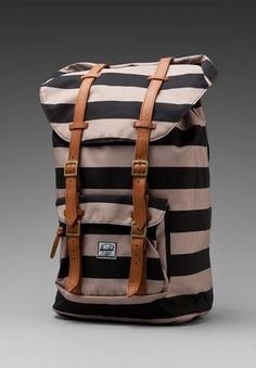 Herschel Supply Co. The Field Collection Little America in Black/Taupe Striped Backpack, Herschel Supply Co, Revolve Clothing, Mode Style, Swagg, Purses And Bags, Kate Middleton, Personal Style, Fashion Accessories