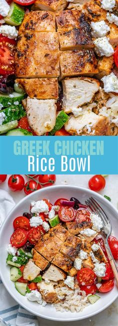 Greek Chicken + Rice Bowls for Weekend BBQ's or Food Prep! Greek Chicken + Rice Bowls for Weekend BBQ's or Food Prep! Clean Eating Recipes, Healthy Eating, Cooking Recipes, Healthy Recipes, Clean Foods, Diet Recipes, Vegetarian Recipes, Texas Chili, Chicken Rice Bowls