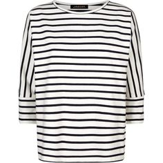 Jaeger Batwing Breton Top , Ivory/Navy (135 BRL) ❤ liked on Polyvore featuring tops, striped crop top, navy blue top, navy top, ivory crop top and navy blue crop top