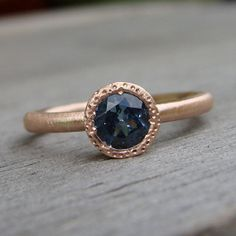 Fair Trade Blue Sapphire Engagement Ring - Recycled 14k Yellow Gold, Eco-Friendly, Ethical, size 4.5