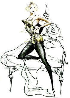 Madonna sketch by Gaultier for Blonde Ambition #madonna