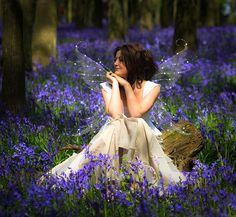 Love the contrast between the light coloured dress and the deep bluebells.