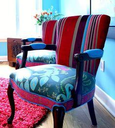 Reupholstered Vintage Chairs...designer Tricia Guild
