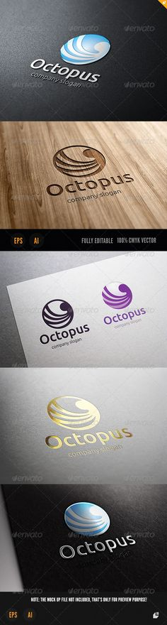 Octopus Logo — Vector EPS #squid #food • Available here → https://graphicriver.net/item/octopus-logo/3718127?ref=pxcr
