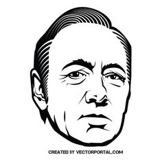Vector portrait of American actor and film director Kevin Spacey. Free Vector Illustration, Portrait Illustration, Line Art Vector, Kevin Spacey, Black White Art, Vector Portrait, Vector Photo, Free Vector Images, Pop Art