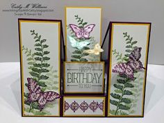 Inking It Up With Cathy: Center Step Card - Stampin' Up!'s Papillon Potpour. Butterfly Cards, Flower Cards, Paper Flowers, Diy Flowers, Tri Fold Cards, Fancy Fold Cards, Handmade Birthday Cards, Greeting Cards Handmade, Kirigami