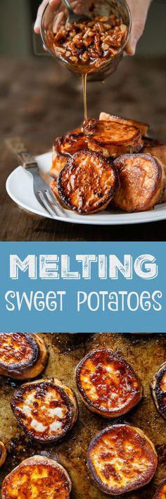 Melting potatoes, sweet potato version! The BEST oven roasted sweet potato recipe. Like, ever.