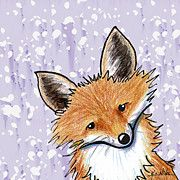 Whimsical Fox Art - Fox On Lavender by Kim Niles