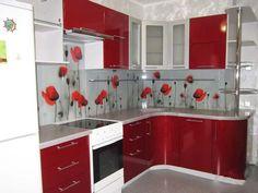 Маленькая красная кухня - 110 фото, дизайн