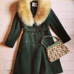 immaculate vintage green coat with real sheep wool collar! £45 bag £7