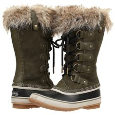 SOREL Joan of Arctic (Nori) Women's Cold Weather Boots ($126) ❤ liked on Polyvore featuring shoes, boots, mid-calf boots, long lace up boots, lace up boots, cold weather waterproof boots, water proof boots and mid calf lace up boots