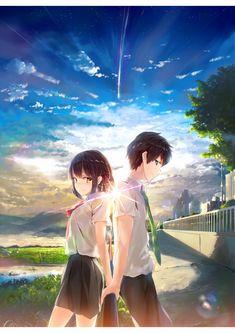 805 anime yourname sky illustration art iphone x(s/max/r) wallpaper Kimi No Na Wa, Anime Wallpaper Download, Cute Anime Wallpaper, Love Wallpaper, Couple Wallpaper, Film Anime, Manga Anime, Otaku Anime, Anime Music