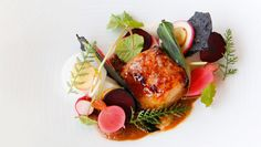 Eel and bone marrow with pickled vegetables