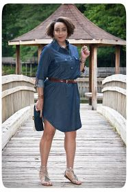 Erica B.'s - D.I.Y. Style!: Review: McCall's 6885 | A Leather-trimmed Chambray Shirt Dress!
