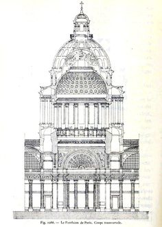 ✽ cross-section of the pantheon, paris - soufflot Revit Architecture, Temple Architecture, Architecture Drawings, Historical Architecture, Amazing Architecture, Architecture Details, Classical Architecture, Illustration Paris, Illustrations