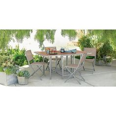 Bryant 5-Piece Sling Stowable Folding Patio Dining Furniture Set - Threshold™…