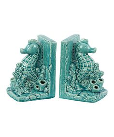 Another great find on #zulily! Turquoise Seahorse Bookend Set #zulilyfinds