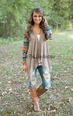 The Pink Lily Boutique - Aztec Sleeve Cardigan- Mocha, $35.00 (http://thepinklilyboutique.com/aztec-sleeve-cardigan-mocha/)