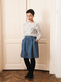 Blue Gathered High Waist Cotton Skirt Blue Jeans Skirt with