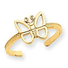 14k Gold Butterfly Toe Ring goldia. $57.30