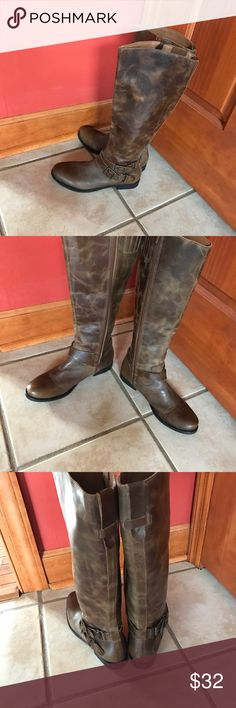 Tall Brown Boots Worn once...wrong size...really a beautiful pair of boots..size 7 Shoes Heeled Boots