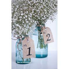 10 étiquettes à nouer Numéro de Table personnalisable - Création Francaise Lucy Jeanne Collection Mariage & jolis évènements