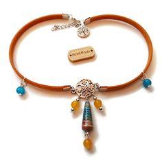 Collier Choker Tour de cou - Cuir Jaune - Ethnique - Bohème - Coloré - Pierre Naturelles - Perles en Papier Multicolores - Perles : Collier par cap-and-pap