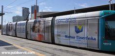 Rotulación Tranvía Mutua Tinerfeña.. Contacta con nosotros en el 922 646 824 o vía email a mailto:comercial@... #rotulacion #vehiculo #tranvia #publiservic Tenerife, Train, Canary Islands, Advertising, Teneriffe, Strollers