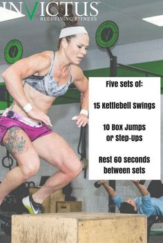 CrossFit Workouts that you can do at the gym or at home. All you need is a kettlebell and a box or bench - and grab a friend to join you!
