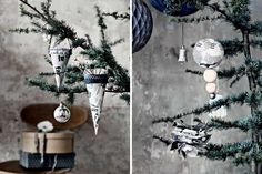 Newspaper DIY Christmas Decorations Diy Christmas Ornaments, Christmas Themes, Christmas Tree Decorations, Handmade Christmas, Holiday Crafts, Holiday Ideas, Winter Holidays, Christmas Holidays, Happy Holidays