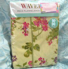 WAVERLY Floral Yellow   VINIYL/FLANNEL BACK TABLECLOTH ~ 60X84 OBLONG ~