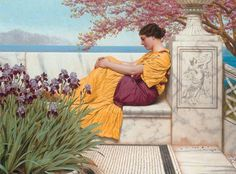 John William Godward (England, ~ John William Godward was an English painter from the end of the Neo-Classicist era. He was a protégé of Sir Lawrence Alma-Tadema, but his style of painting fell out of favour with the arrival of painters such as Picasso. John William Godward, Lawrence Alma Tadema, Henri Matisse, Pre Raphaelite, Oil Painting Reproductions, Classical Art, Vintage Ephemera, Vintage Art, Fine Art