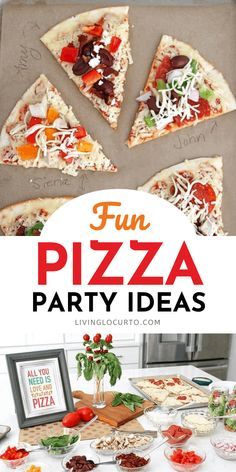 Fun pizza party ideas for a family dinner or celebration. Get free printables for cute table decorations. Simple Buffet Ideas, Diy Party, Party Ideas, Party Crafts, Summer Parties, Holiday Parties, Party Printables, Free Printables, Party Food For Adults